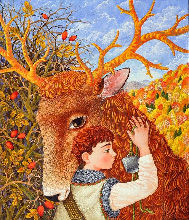 Іллюстрація Ольги Кваш. Dmytro Pavlychko «Deer with golden horns»